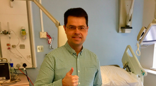 Former NI Secretary of State James Brokenshire, pictured on his Twitter page, ready for discharge from hospital after surgery