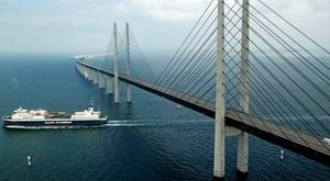 Oresund Bridge, a road and rail link, connects Denmark and Sweden