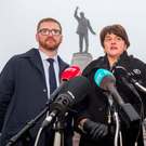 DUP leader Arlene Foster and colleague Simon Hamilton