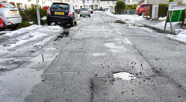 Potholes on the Queens Park estate just outside Glengormley