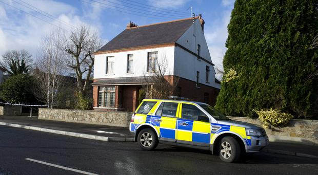 Police at the scene of the burglary in Aughnacloy