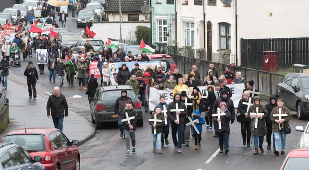 The annual Bloody Sunday march in Londonderry yesterday