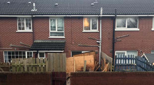 The aftermath of the explosion which happened at a house in Fraser Pass in east Belfast