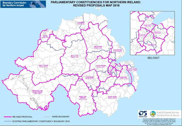 New electoral boundaries overlaid on top of an existing constituency map for Northern Ireland