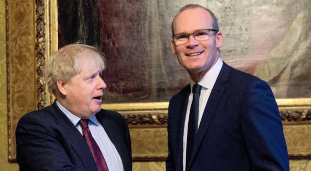 Foreign Secretary Boris Johnson and Irish Foreign Minister Simon Coveney yesterday