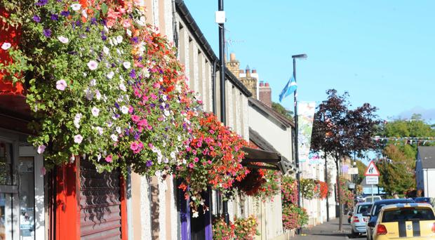 The flower-lined streets of Broughshane which impressed the judges