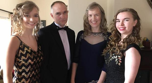 Alistair Sloss with wife Roberta and daughters Rebekah and Sarah
