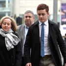 Ulster and Ireland rugby player Paddy Jackson arrives at Laganside Magistrates court this morning on day 6 (week two).