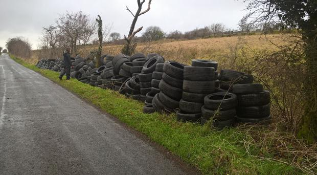 The tyres dumped at Slievenacloy Nature Reserve