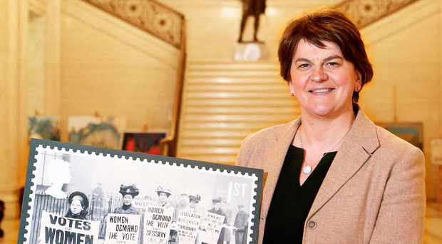 Arlene Foster at Stormont yesterday