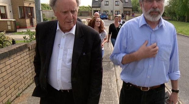 Broadcaster Vincent Browne (left) with Gerry Adams