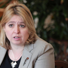 Secretary of State for Northern Ireland, Karen Bradley MP pictured talking to members of the media at Stormont House as they announced a fresh round of talks aimed at restoring devolution in Northern Ireland.