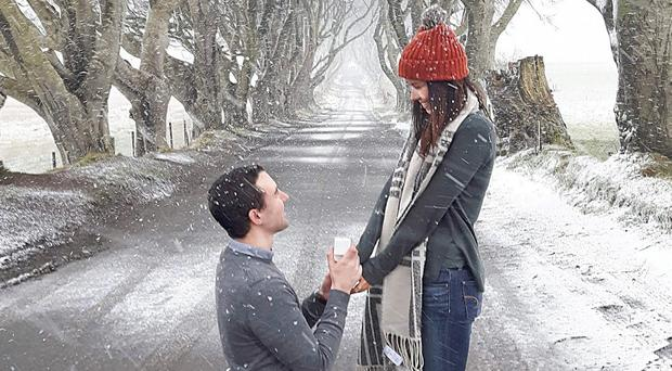 Steven Wylie pops the question to Donna Thompson at the Dark Hedges