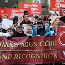 Irish language campaigners outside Stormont (Brian Lawless/PA)