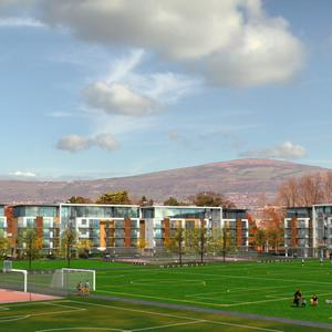 Artist's impression of new sports, hotel and apartment development on the site of the old Laburnum playing fields