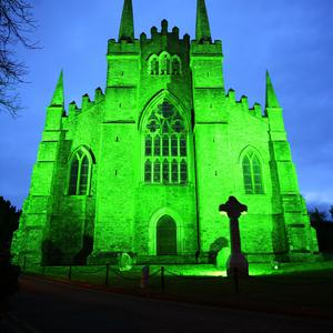 Down Cathedral is bathed in green as part of St Patrick's Day celebrations