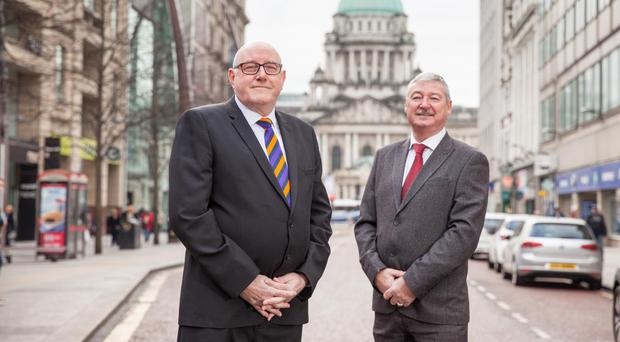 Spencer Beattie (left) Grand Master of the County Grand Orange Lodge of Belfast, with William Hughes, Deputy Grand Master