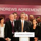 The late Martin McGuinness, Gerry Adams, Mary Lou McDonald and the rest of the Sinn Fein negotiating team at St Andrews in 2006