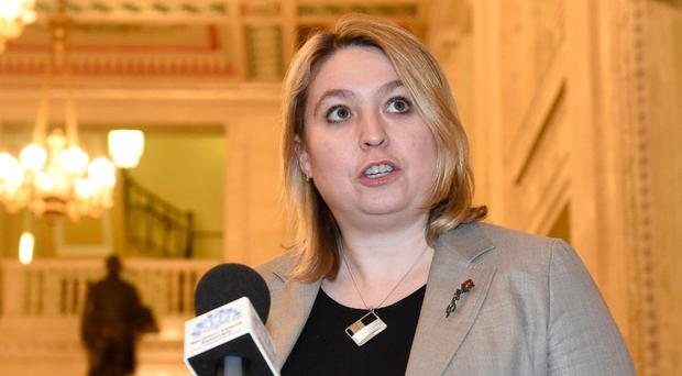 Secretary of State Karen Bradley speaks to the media