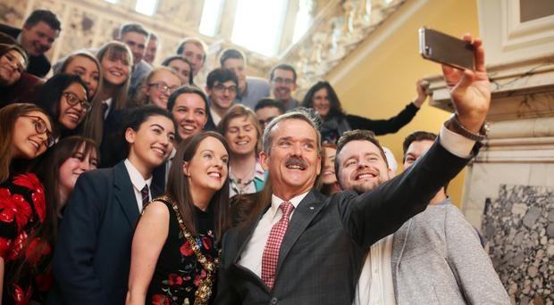 Chris Hadfield in Belfast City Hall, where he met Lord Mayor Nuala McAllister and students