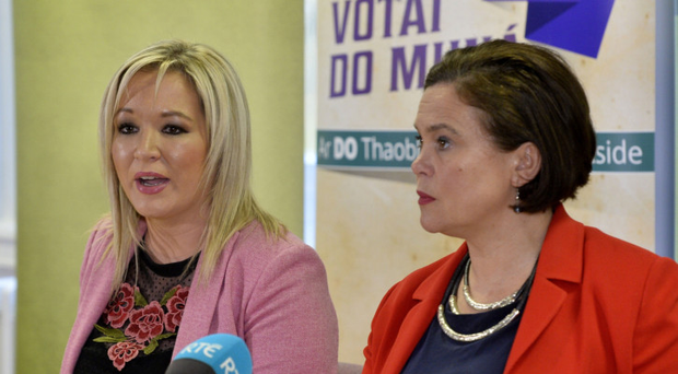 Sinn Fein vice president Michelle O'Neill and president Mary Lou McDonald at Stormont yesterday