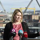 Northern Ireland Secretary Karen Bradley at the Dome in Victoria Square shopping centre, Belfast (Michael Cooper/PA)