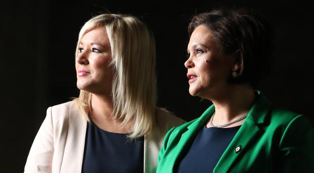 Sinn Fein's newly elected president and vice president, Mary Lou McDonald and Michelle O'Neill (Niall Carson/PA)