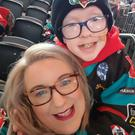 Blake McCaughey with mum Christine at a Belfast Giants match
