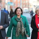 Sinn Fein's Conor Murphy, Mary Lou McDonald and Michelle O'Neill arrive at Government Buildings in Dublin for a meeting with Taoiseach Leo Varadkar (Niall Carson/PA)