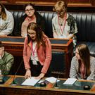 Some of the 200 young people who discussed a range of topics at Stormont yesterday