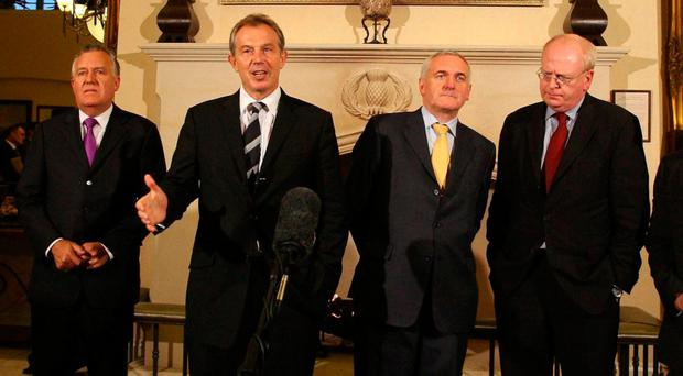 From left: Peter Hain, Tony Blair and Bertie Ahern at St Andrews in 2006