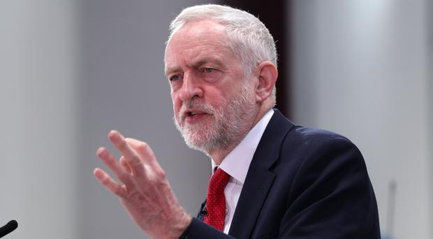 Labour leader Jeremy Corbyn delivers his Brexit speech at the National Transport Design Centre at Coventry University Technology Park (Aaron Chown/PA)