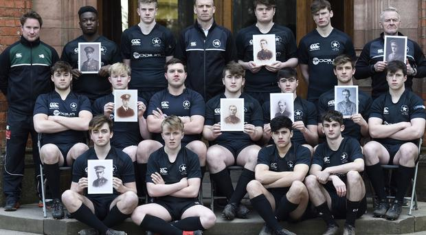 The Campbell College 1st XV rugby team pays tribute to former pupils from the 1913-14 team