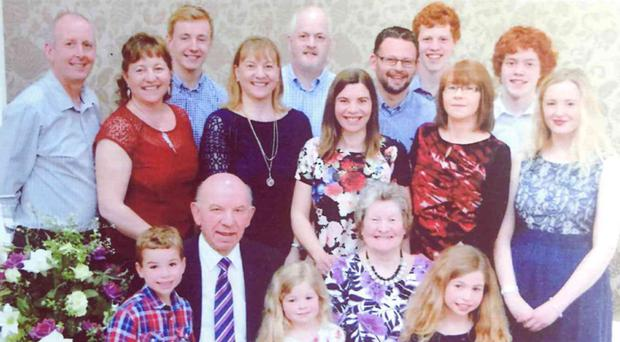 Rhoda Creane with husband Robert Creane celebrating their golden wedding anniversary with their children and grandchildren