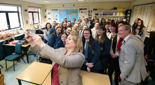 Secretary of State Karen Bradley with pupils at Thornhill College
