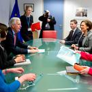 EU's chief Brexit negotiator Michel Barnier (left) meets with Sinn Fein's Mary Lou McDonald, Michelle O'Neill and Martina Anderson in Brussels