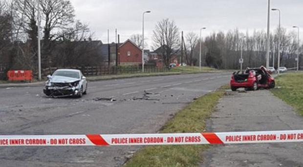 The scene of yesterday's road traffic collision in Lisburn in which a pensioner and two police officers were injured