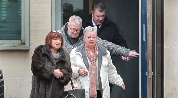 Family and friends arrive at court for the third day of the inquest into the death of mother of six Kathleen Thompson