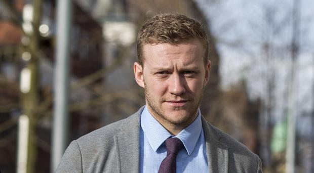 Ireland and Ulster rugby player Stuart Olding arrives at Belfast Crown Court. (Liam McBurney/PA)