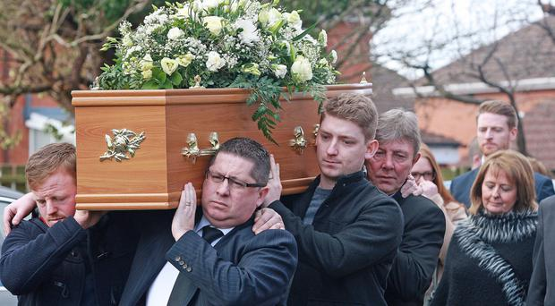 Gerard Lawlor (front right) and Marty Quinn (back right) at the funeral of Freddie Jardine (inset right) yesterday
