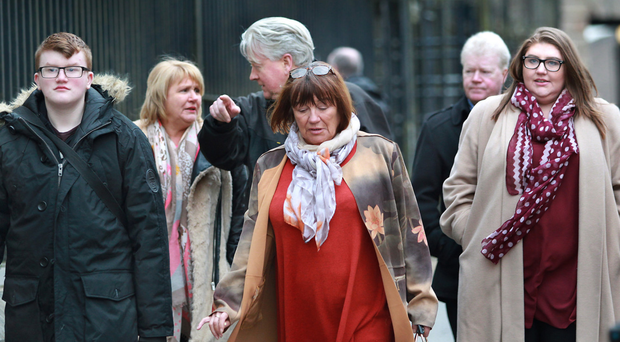 Family members leave Londonderry courthouse after attending the inquest into the death of mother-of-six Kathleen Thompson