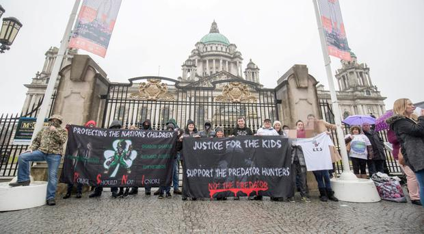 The protest at Belfast City Hall on Saturday