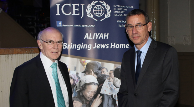 Israeli ambassador to the UK Mark Regev (right) meets with ICEJ director Brian Silvester at the Ulster Hall yesterday