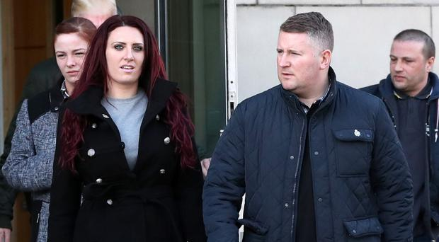 Britain First leader Paul Golding and deputy leader Jayda Fransen leaving court.
