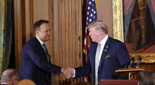 US President Donald Trump and Taoiseach Leo Varadkar during the Speaker's Lunch at Capitol Hill in Washington (Niall Carson/PA)