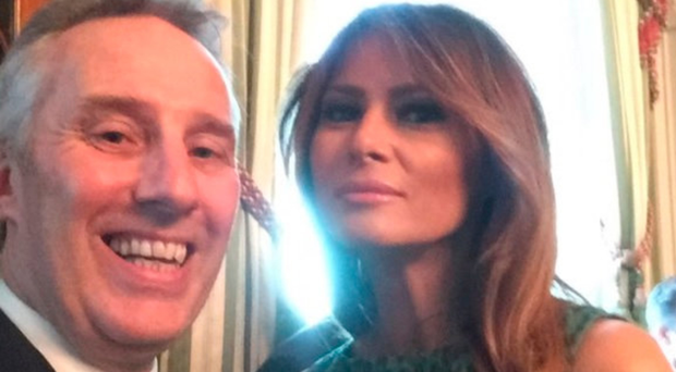 A picture tweeted by Ian Paisley of himself with First Lady Melania Trump at White House