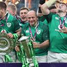 Ireland celebrate with the trophy after winning the grand slam (Gareth Fuller/PA)