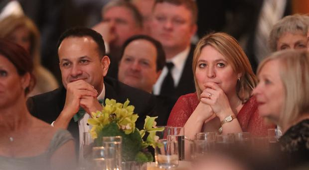 Northern Ireland Secretary of State Karen Bradley with Taoiseach Leo Varadkar at the American Ireland Gala Fund dinner at the National Building Museum in Washington DC (Niall Carson/PA)