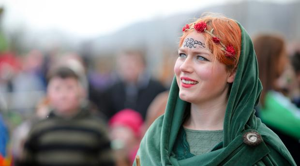 A woman enjoys the St Patrick's Day celebrations in Newry