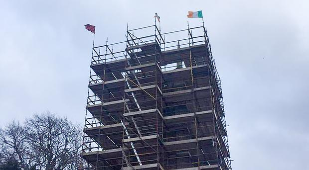 Irish tricolours were erected at Kilbroney Church of Ireland in Rostrevor